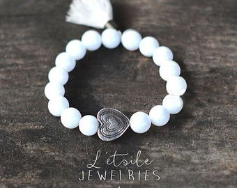 """Bracelet in white beads and heart silver-plated """"Pure love"""""""