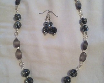 Sparkly gray beaded necklace and earring set