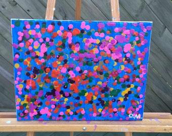 Mixed media-crayons and tempura on canvas