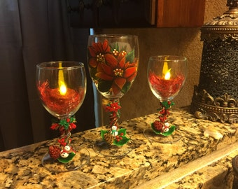 T-candle holder hand painted glass set