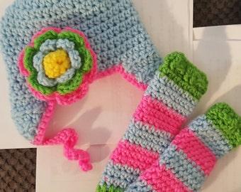 Baby/Kids handmade crochet Hat and Leg Warmer set
