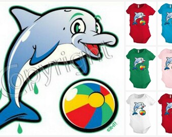 Dolphin with a ball Infant Baby one-piece Bodysuit Snapsuit Girl Boy Funny KP116