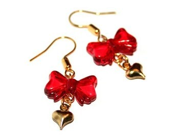 Red Heart and Bow Hook Earrings