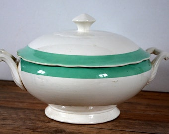 Soup tureen white and green