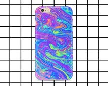 Molten rainbow iPhone 5 / 5c / 6 / 6s / 7 / SE Plus case - Holographic - Grunge - Hipster - Cyber ghetto - Cute - Tumblr - Blue - phone case