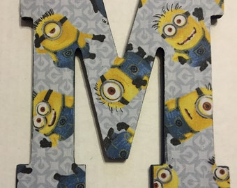 "Fabric-covered Decorative Wall Hanger Letter ""M"" - Minions"
