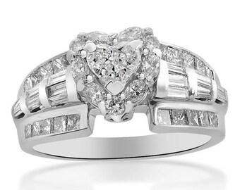 Valentines Day 1.63 Carat G-SI1 Heart Shape Diamond Halo Engagement Ring 18K White Gold