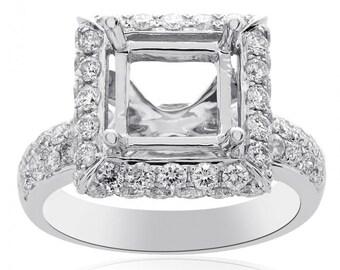 1.19 Carat Diamond Engagement Ring 14K White Gold Mount Setting