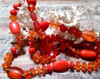 SUNSET ORANGE NECKLACE, extra long, resin beads, handmade,