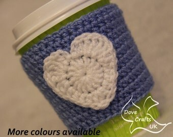White Heart on Blue Handmade Crochet Cup Cosy / Valentines gift