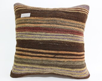 16x16 Turkish Striped Kilim Pillow Ethnic Pillow natural pillow throw pillow boho pillow Multicolour pillow Cushion cover SP4040-1412