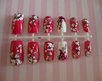 Cherry Blossom Artificial Nail Set Pink