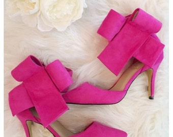 Hot Pink BRADSHAW BOW HEELS