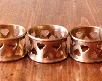 Vintage Brass Plated/ Gold Tone Napkin Rings Punch Heart Design Made in India Metal Shabby Chic Set of 5