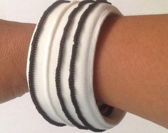 Black and White Fabric Cuff Bracelet