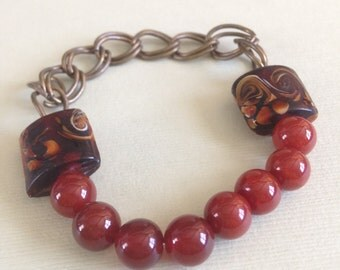 Carnelian and Brass Chain Bracelet