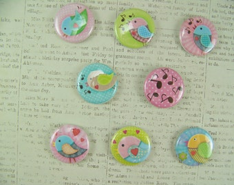Button Magnets, Bird Magnets, Refrigerator Magnets, Office Magnets, Whimsical Birds, Nature Magnets, Magnets