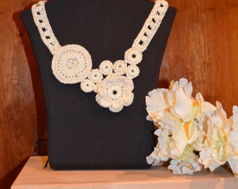 Crocheted Brooch Necklace