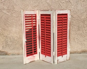 Distressed Window Shutter Annie Sloane Old White Paint Rustoleum Satin Poppy Red Paint