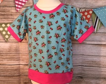 Girls T-Shirt, Shabby Chic Roses Top, Dolman Sweater Top, Short Sleeve Top