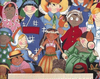 "Rare! Alexander Henry Fabric titled Children of the World from 1994 100% Cotton Quilt Shop Quality 1 yard  36"" x 44"""