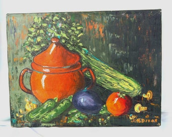 1980's or thereabouts: STILL  LIFE  Oil PAINTING of Enamelware and Food