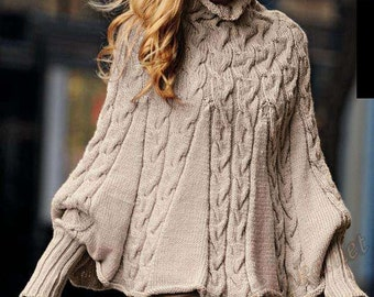 Womens knitted Cape poncho with sleeves Alpaca blend yarn.