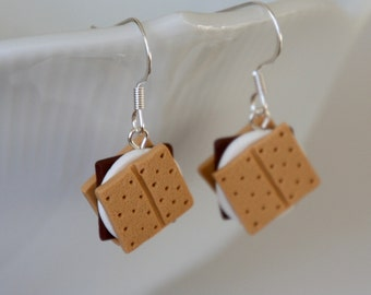 S'mores Earrings - Miniature Polymer Clay Food Jewelry