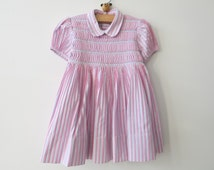 VINTAGE SMOCKED DRESS - Pink dress from France from the 1973