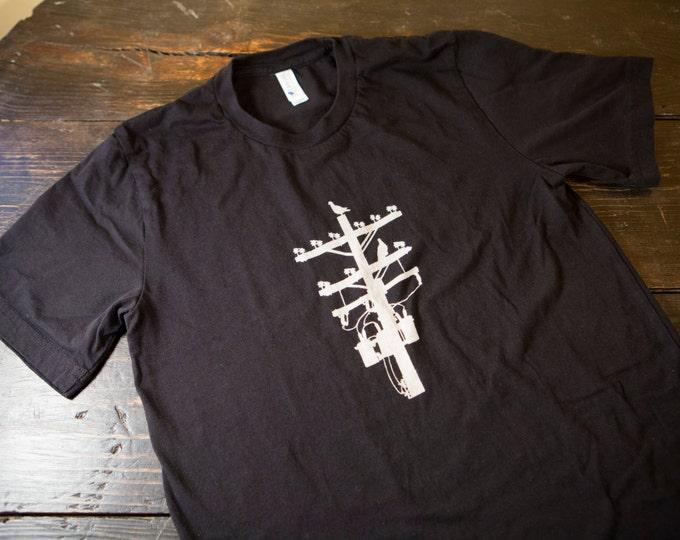 Black and White Pigeon Tree Logo Tee Made in USA T-shirt Indigo Overdye