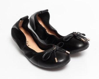 FAITH - Black Leather Round Toe Ballet Flats