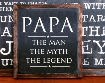 Legen etsy papa the man the myth the legend wood sign home decor rustic distressed man cave sciox Gallery