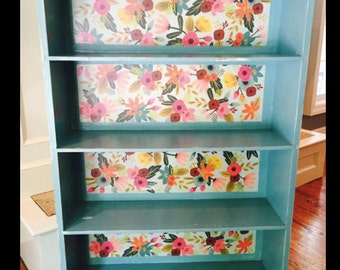SOLD--Bookshelf With Floral Decoupage