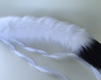 White with Black Tip Tail