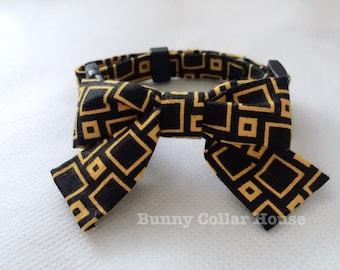 Pixel Black Bow Collar, Rabbit accessories, Bunny clothing, rabbit clothing, rabbit, collar, bunny