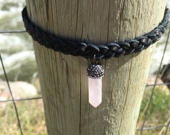 Black braided leather choker with light pink pendant