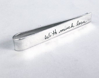 Custom Handwriting Tie Clip- Personalized Clip Monogram Tie Bar Personalized Mens Gift Groomsmen Tie Clip For Him Personalized Tie Clip