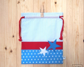 "child stars - blue and Red snack bag / lunch baby bag ""star"" - blue & red"