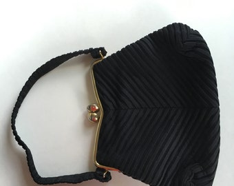Vintage J. R. Black Pleated Clutch Purse