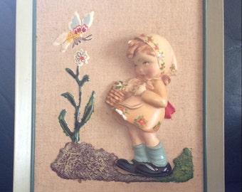 Vintage Unique Chalk/plaster ware- framed little girl
