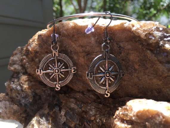Nautical Earrings, Antique Tibetan Silver Earrings