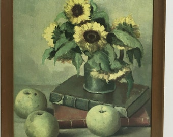 Vintage Sunflower Oil Painting