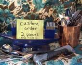 Custom Hand Stamped Silverware- Two Piece- Custom Order
