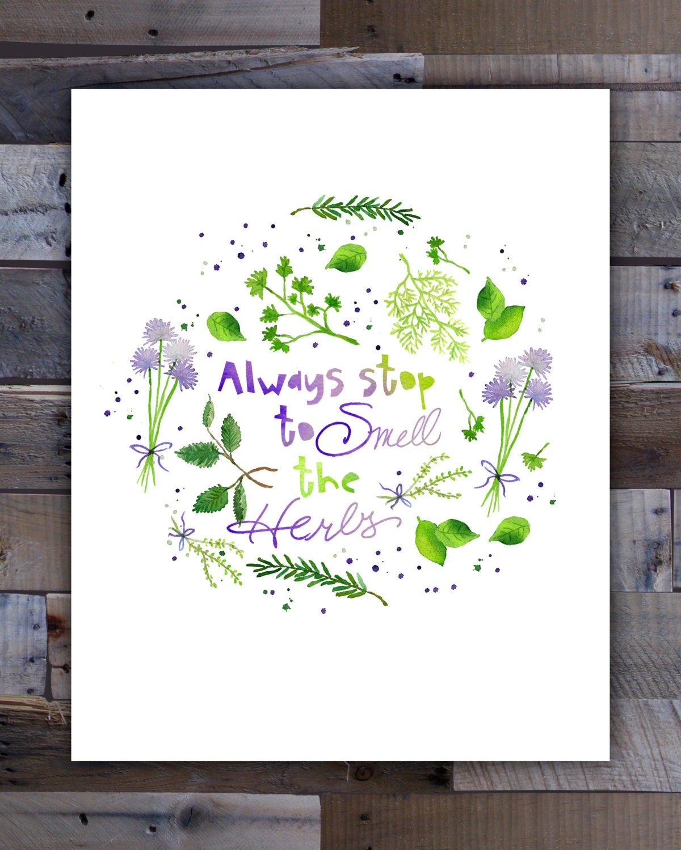 Kitchen Wall Art Herb Art Print 8x10 Download Kitchen Art