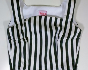 Fifties/Sixties Inspired Black and White Striped Crop Top! XL - 60s - 1960s