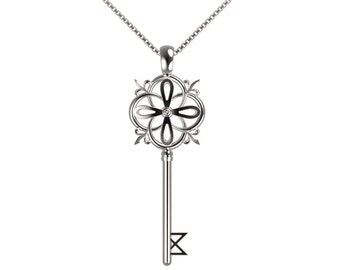 Key pendant with chain and sterling silver closure