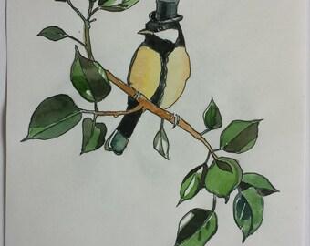 Items similar to Surreal Drawing Bird Lady, Human Bird ...