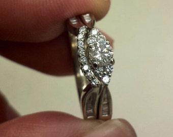 14K White Gold Engagement/Wedding Rings, Size 5.5
