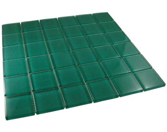 2 inch Teal Mosaic Glass Tiles