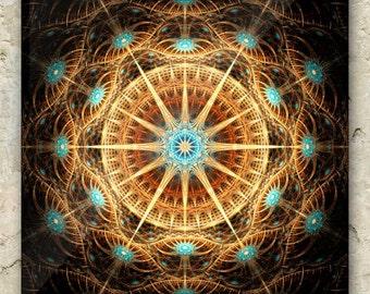 CELESTIAL SYZYGY ART – Fractal Greeting Card: sacred geometry, mandala, cosmic, compass, sun dial, interstellar, space, psychedelic, prayer